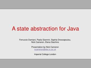 A state abstraction for Java