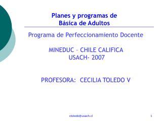 Planes y programas de  Básica de Adultos