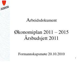 A rbeidsdokument Økonomiplan 2011 – 2015 Årsbudsjett 2011