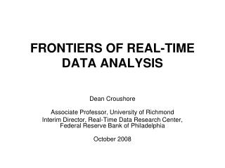 FRONTIERS OF REAL-TIME DATA ANALYSIS
