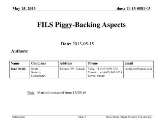 FILS Piggy-Backing Aspects