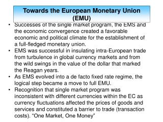 Towards the European Monetary Union (EMU)