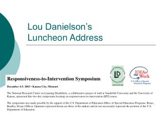 Lou Danielson s  Luncheon Address