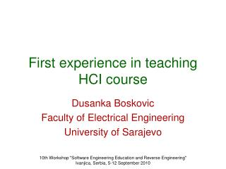 First experience in teaching HCI course