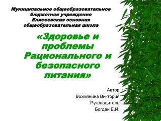 Автор Вохмянина Виктория Руководитель Богдан Е.И.