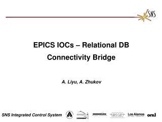 EPICS IOCs   Relational DB  Connectivity Bridge   A. Liyu, A. Zhukov