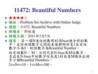 11472: Beautiful Numbers
