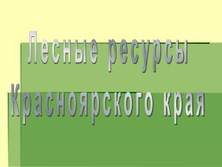 Лесные ресурсы Красноярского края
