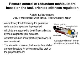Posture control of redundant manipulators based on the task oriented stiffness regulation