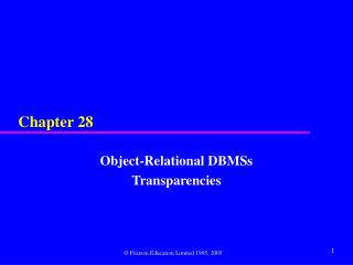 Object-Relational DBMSs Transparencies