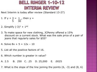Bell Ringer 1-10-12 INTERIM Review