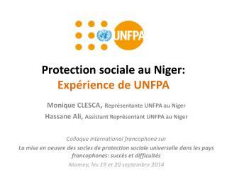 Protection  sociale  au Niger: Expérience  de UNFPA
