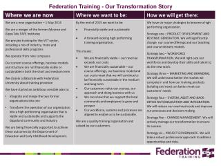 Federation  Training - Our Transformation Story