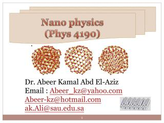 Nano  physics (Phys 4190)