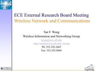 ECE External Research Board Meeting  Wireless Network and Communications