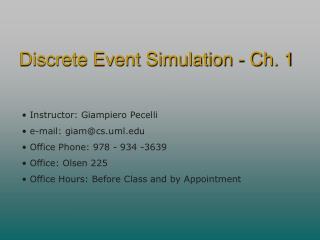 Discrete Event Simulation - Ch. 1