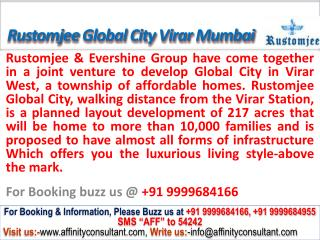 Rustomjee Global city apartments virar mumbai @ 09999684166