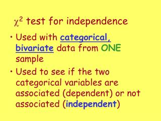 c 2  test for independence