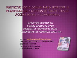 ESTRUCTURA SINÓPTICA DEL TRABAJO ESPECIAL DE GRADO PROGRAMA DE FORMACIÓN DE GRADO