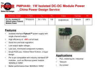 PMP4440:  1W Isolated DC-DC M odule Power   _China Power Design Service