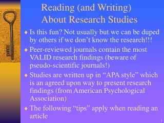 Reading and Writing About Research Studies