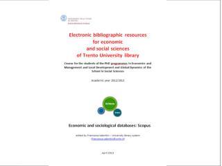 Elsevier Sciverse - SCOPUS Trento, 16th April 2013