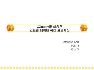 CXquery 를 이용한  스트림 데이터 쿼리 프로세싱