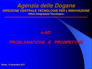 Agenzia delle Dogane DIREZIONE CENTRALE TECNOLOGIE PER L INNOVAZIONE - Ufficio Integrazione Tecnologica -