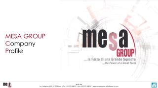 MESA GROUP  C ompany  P rofile