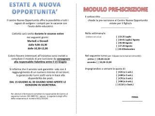 MODULO PRE-ISCRIZIONE