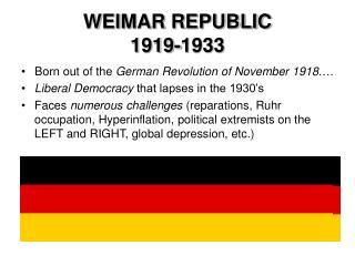 WEIMAR REPUBLIC  1919-1933