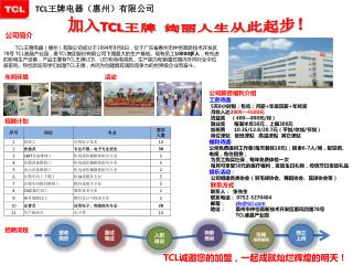 TCL 王牌电器(惠州)有限公司