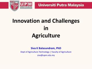 Innovation and Challenges  in Agriculture