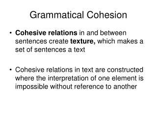 Grammatical Cohesion