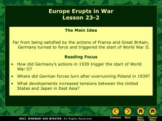 Europe Erupts in War Lesson 23-2