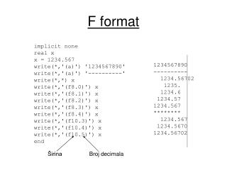 F format