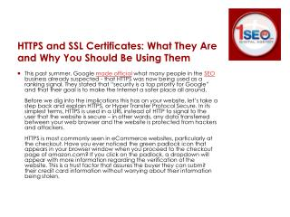 HTTPS and SSL Certificates: What They Are and Why You Should