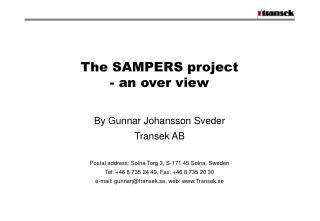 The SAMPERS project - an over view