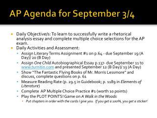 AP Agenda for September  3/4