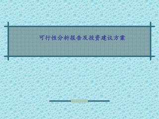可行性分析报告及投资建议方案