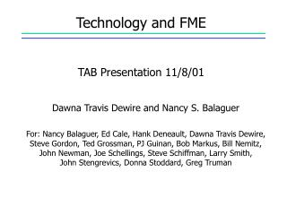 Technology and FME TAB Presentation 11/8/01