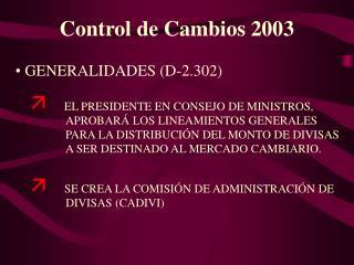 Control de Cambios 2003