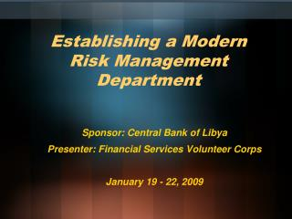 Establishing a Modern Risk Management Department