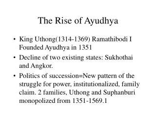 The Rise of Ayudhya