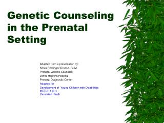 Genetic Counseling in the Prenatal Setting