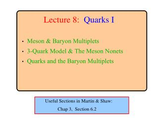 Lecture 8: Quarks I