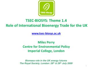 TSEC-BIOSYS: Theme 1.4  Role of International Bioenergy Trade for the UK  tsec-biosys.ac.uk  Miles Perry Centre for Envi