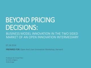 BEYOND PRICING DECISIONS: