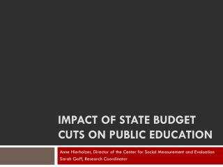 Impact of state budget cuts on public education