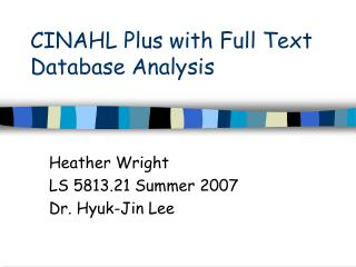 CINAHL Plus with Full Text Database Analysis